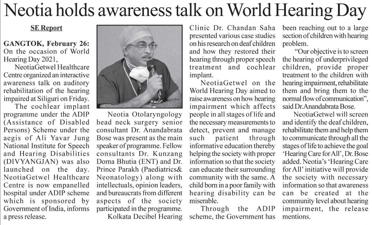 Neotia Getwel Healthcare Centre Organised an Awareness Talk on Auditory Rehabilitation of the Hearing Impaired in recognition of World Hearing Day, 2021